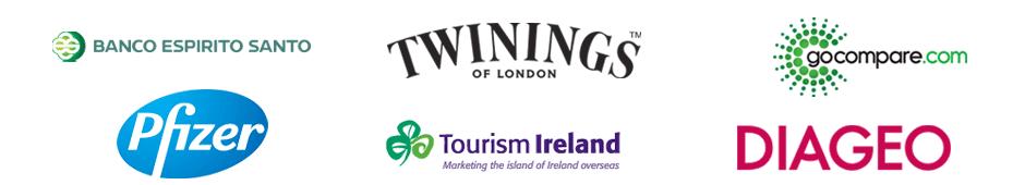 Banco Espirito Santo, Twinings, Go Compare, Pfizer, Tourism Ireland, Diageo